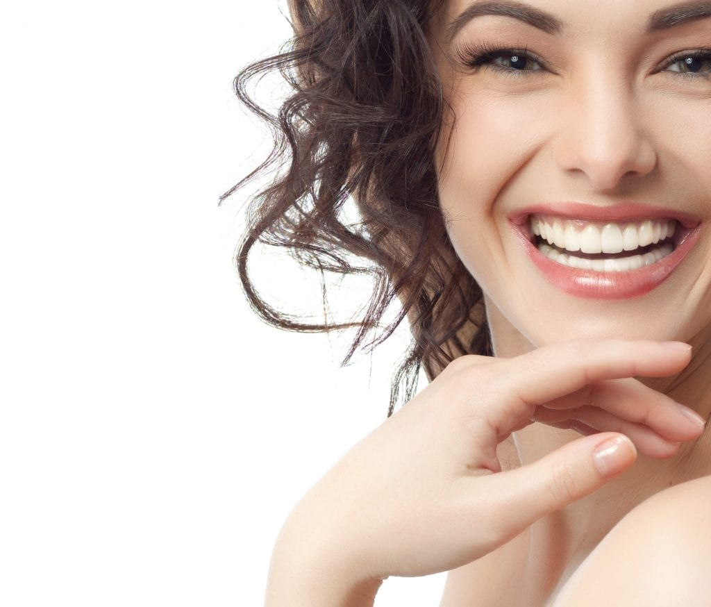 portrait of attractive caucasian smiling woman brunette